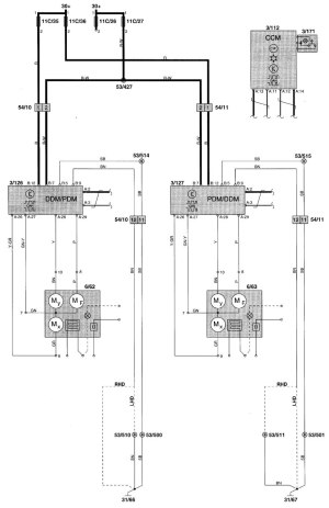 Volvo V70 (2000)  wiring diagrams  power mirrors