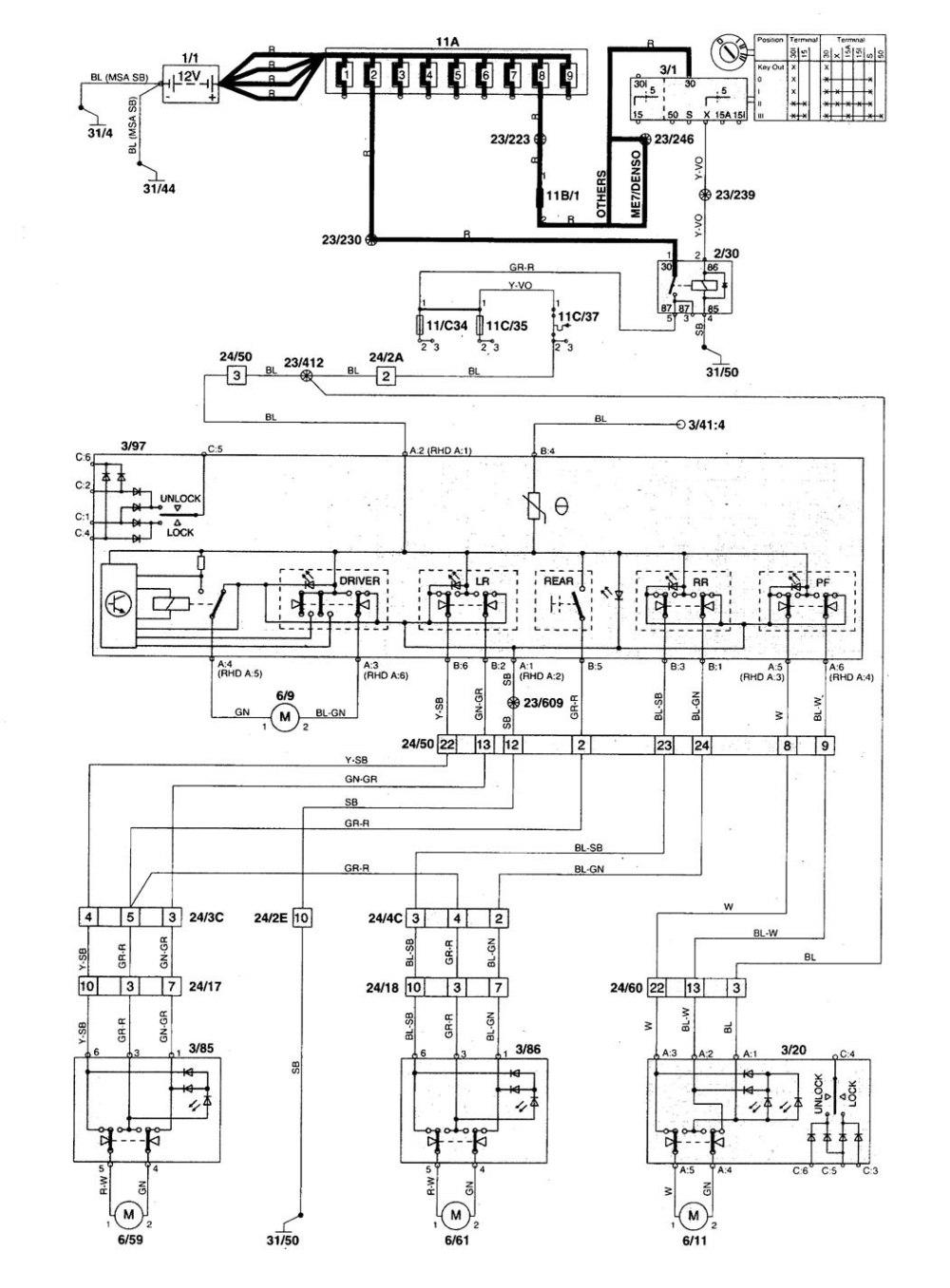 medium resolution of volvo v70 1998 1999 wiring diagrams power windows