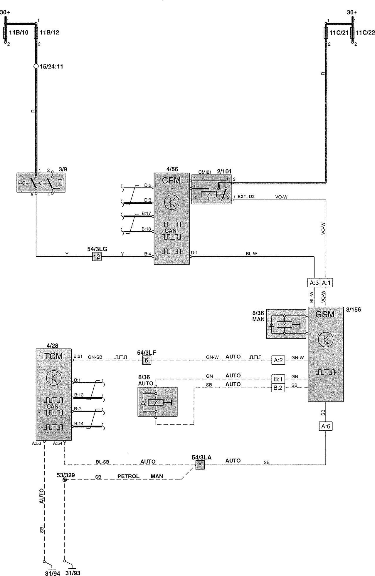 volvo v70 wiring diagram rockford fosgate p3 15 2002 diagrams shift interlock