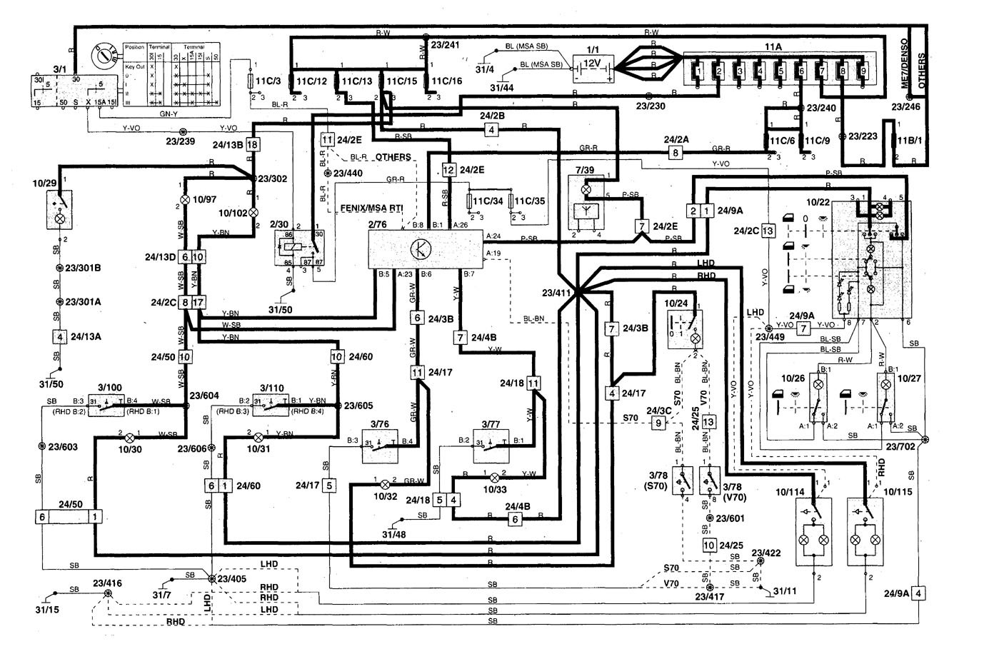 hight resolution of volvo s70 1998 2000 wiring diagrams interior volvo v70 1998 wiring diagram pdf 1998 volvo v70 radio wiring diagram