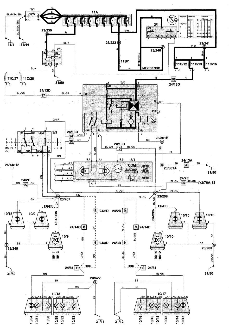 1998 volvo v70 ignition switch wiring diagram