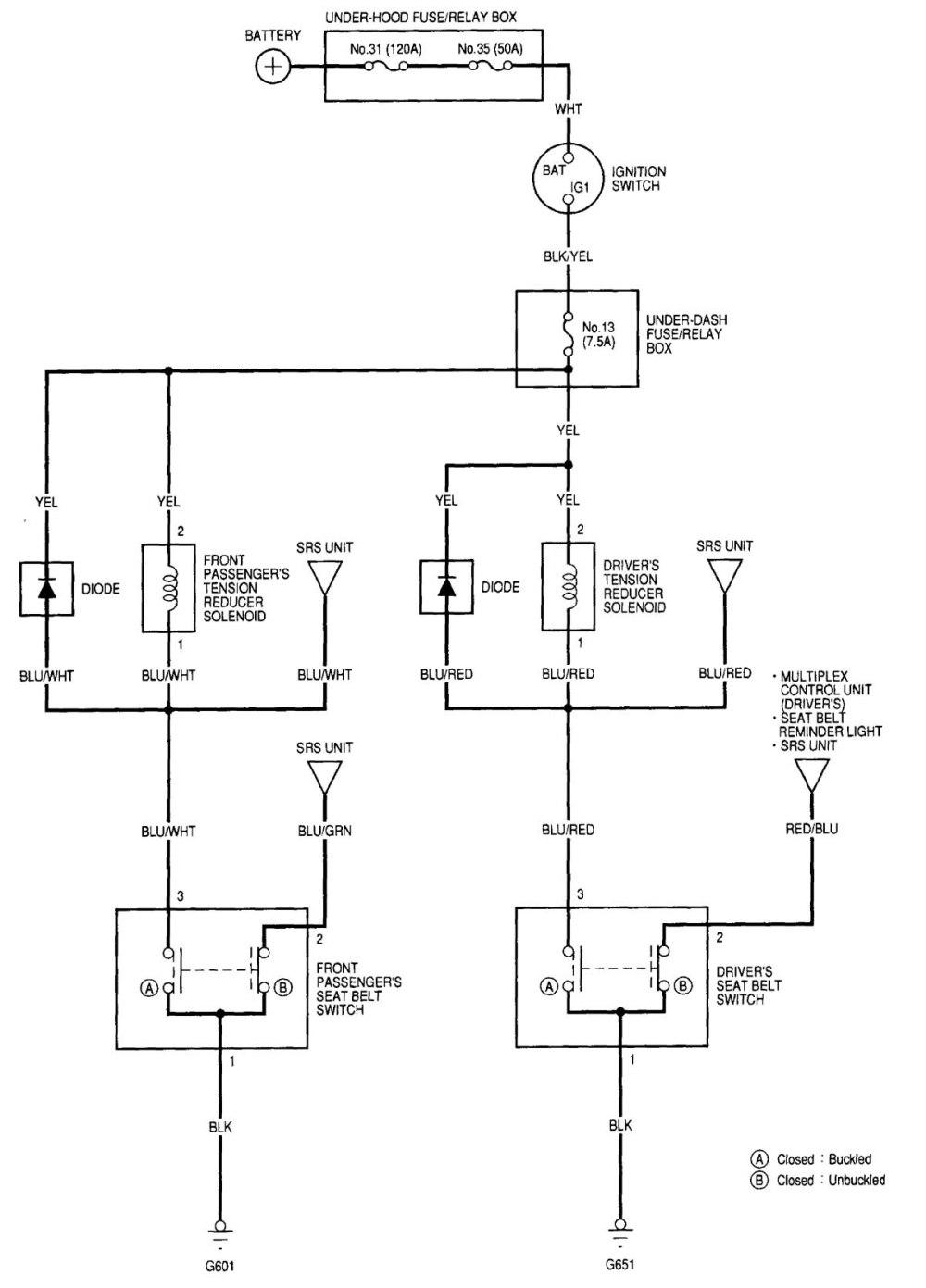 medium resolution of acura rl 2000 2002 wiring diagrams seat belts 2000 acura rl bose amp wiring diagram 2000