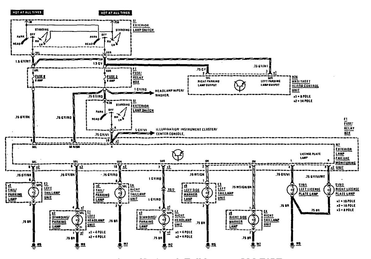 Mercedes benz 300e 1990 1991 wiring diagrams license plate rh carknowledge info