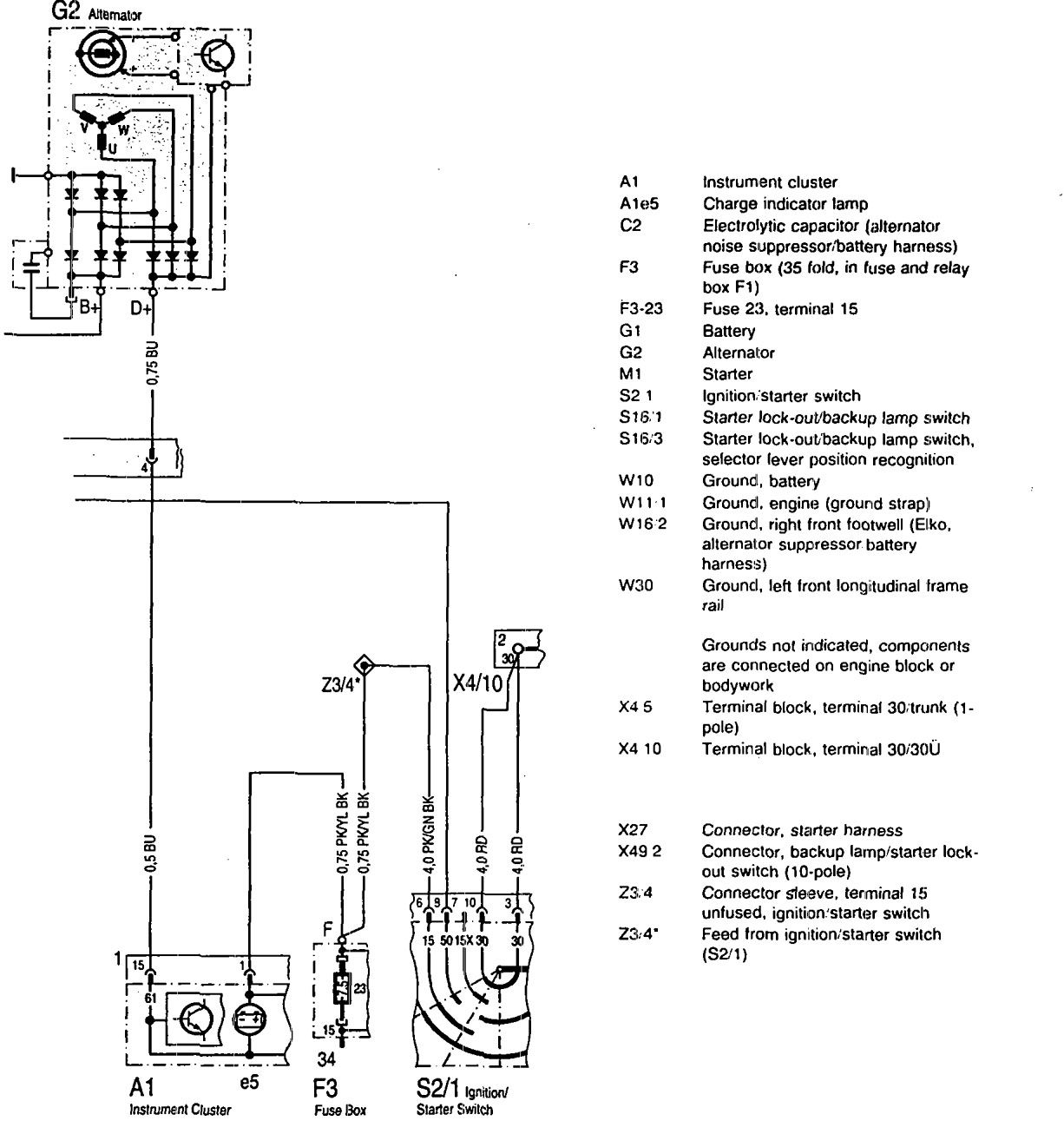 car charging system wiring diagram 2003 pt cruiser stereo mercedes benz 600sl 1993 diagrams