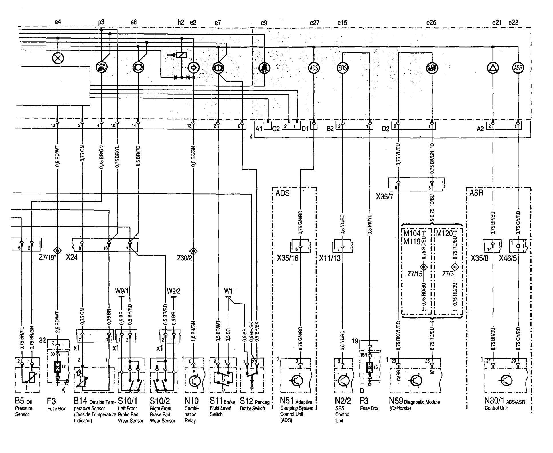 w124 500e wiring diagram sv650 headlight mercedes benz 500sel 1992 1993 diagrams