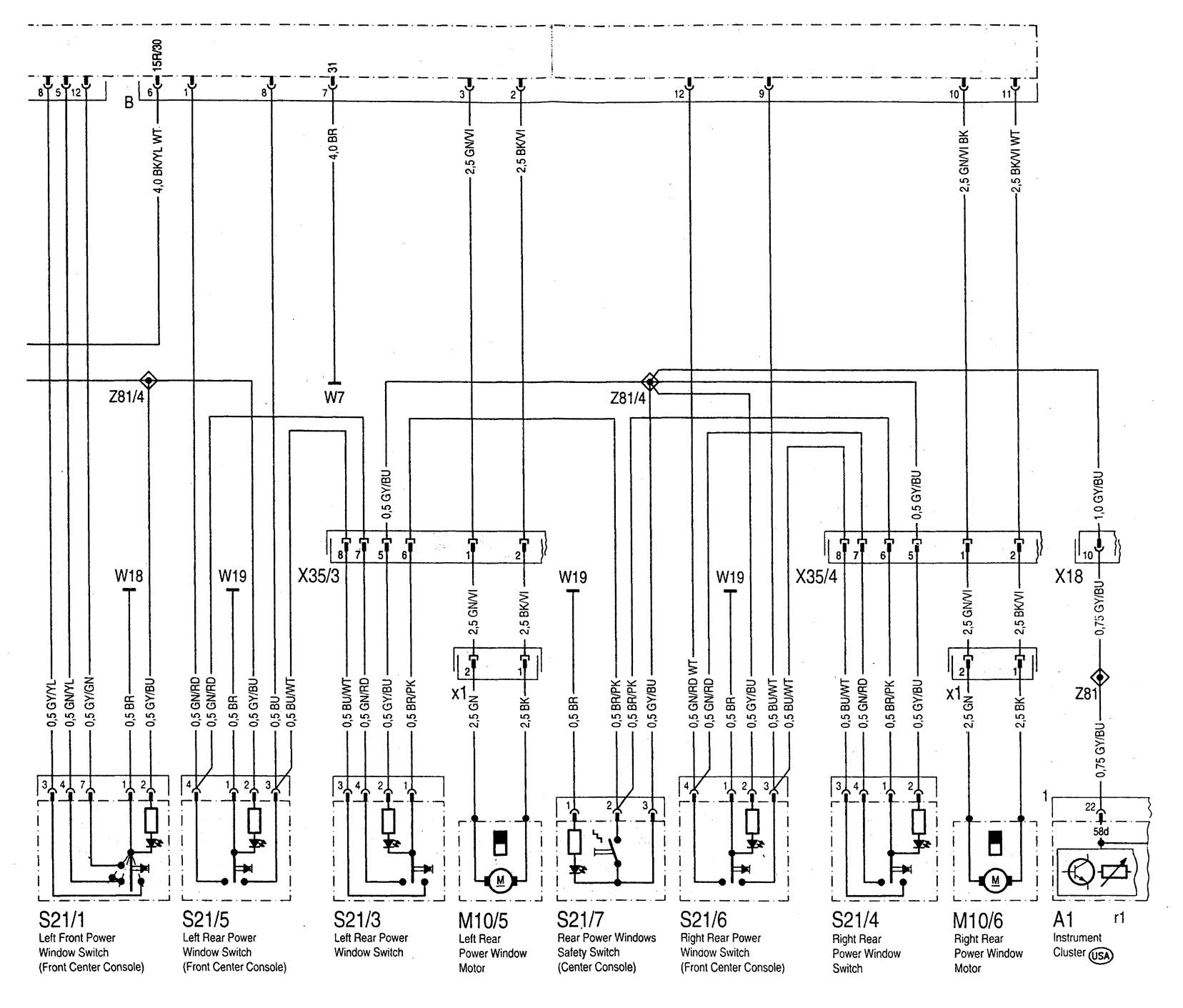golf 3 sunroof wiring diagram schneider 25a contactor mercedes benz c280 1994 1997 diagrams