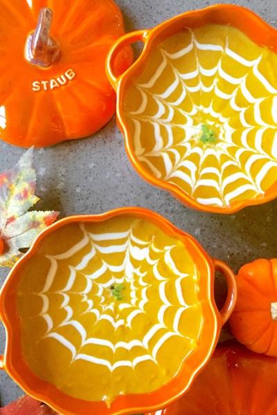 Pumpkin Soup Served in Staub Pumpkin Cocottes