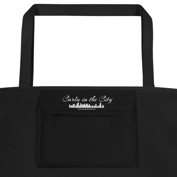 Washington, DC skyline at night in black and white - Carla Durham - Carla in the City - pocket of large tote bag
