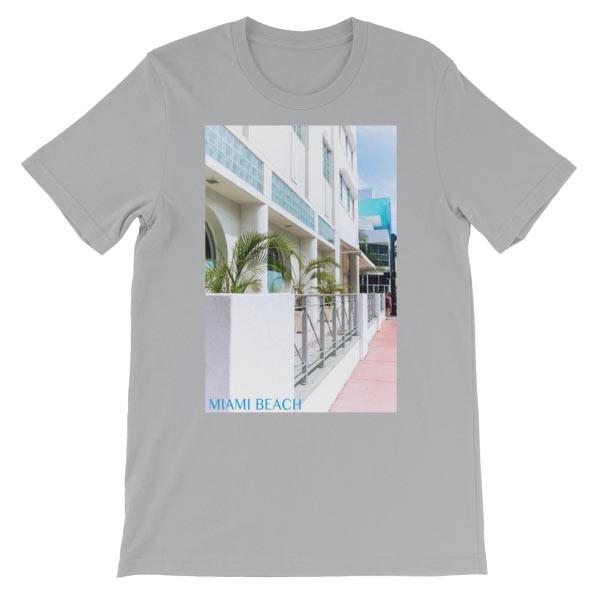 Miami Beach Art Deco hotel - Carla Durham - - Carla in the City - short sleeve unisex t-shirt, silver