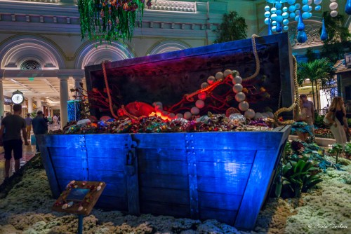 Treasure chest display in the Conservatory and Botanical Gardens of Bellagio Las Vegas hotel and casino - Photographer Carla Durham- 50 Cities and counting