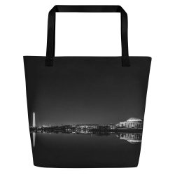 Washington, DC skyline at night in black and white - Carla Durham - Carla in the City - large tote bag
