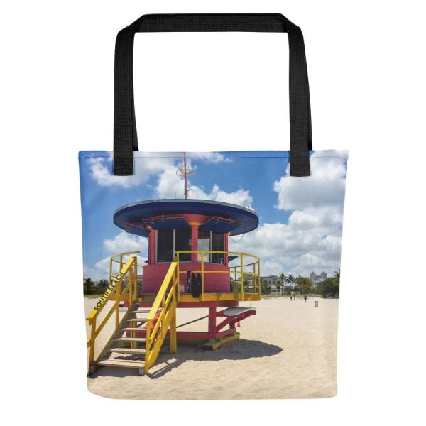 10th-street-lifeguard-tower-miami-tote-bag-front-black