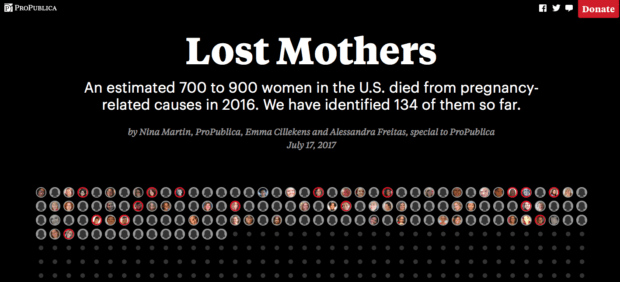 Lost mothers, a project by Propublica