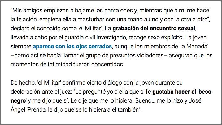 """Extracte d'un article de """"El confidencial"""" sobre el judici a La Manada:"""