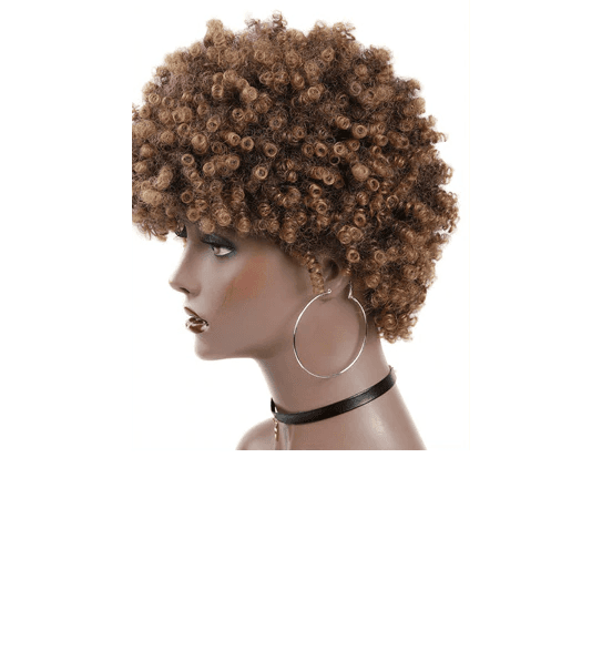 Short Kinky Curly Fro Wig Side
