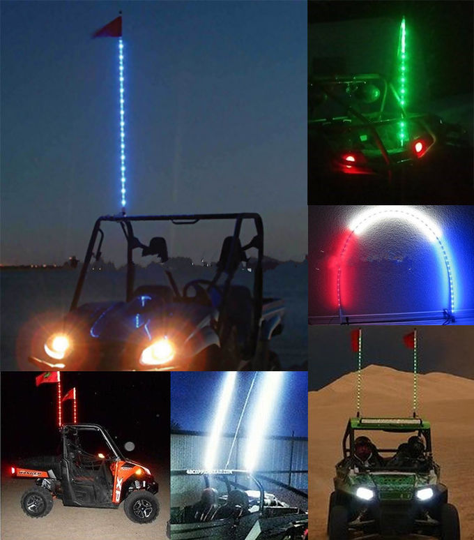 6 Feet RGB LED Whip Flags Lights Pole Safety Remote