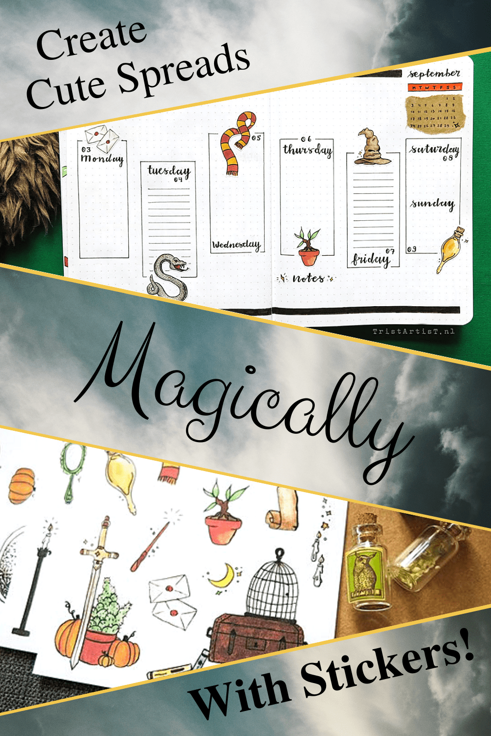 harry potter bullet journal magical stickers