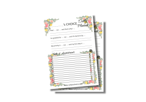daily choice planner A5 with peonies and tulips background
