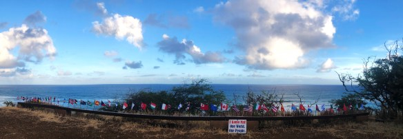 National flags at Diamond Head Lookout