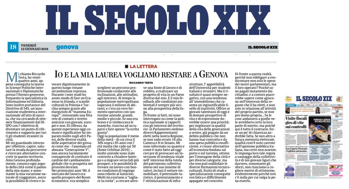Riccardo Testa: io e la mia laurea vogliamo restare a Genova