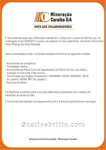 COMUNICADO MINERAÇÃO CARAÍBA ACIDENTE DE TRABALHO