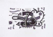 S/T. Tinta, marcador y corrector sobre papel. 40 cm. x 50 cm. 2012