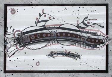 S/T. Tinta, marcador y corrector sobre papel. 60 cm. x 90 cm. 2014