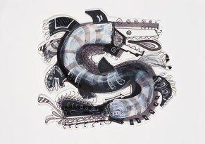 S/T. Tinta, marcador y corrector recortado y sobre papel. 21 cm. x 30 cm. 2014