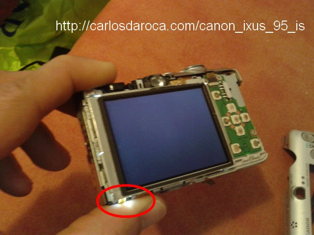LCD apagado con led: encendido camara Canon IXUS 95 IS