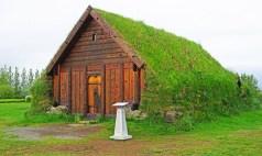 Granja de madera con techos de hierba