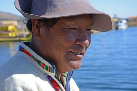 Islas de los Uros. Aymara Jefe de la Isla