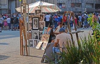 Artistas en la Plaza de Armas