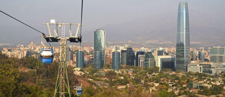 Centro de Santiago de Chile desde el teleférico de Cerro San Cristóbal