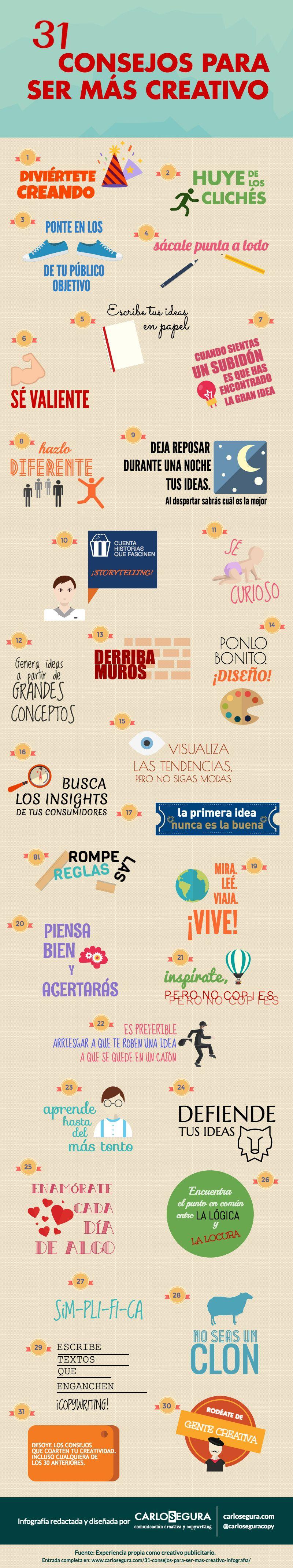 Infografía 31 consejos para ser más creativo. Creación y entrada original: carlosegura.com