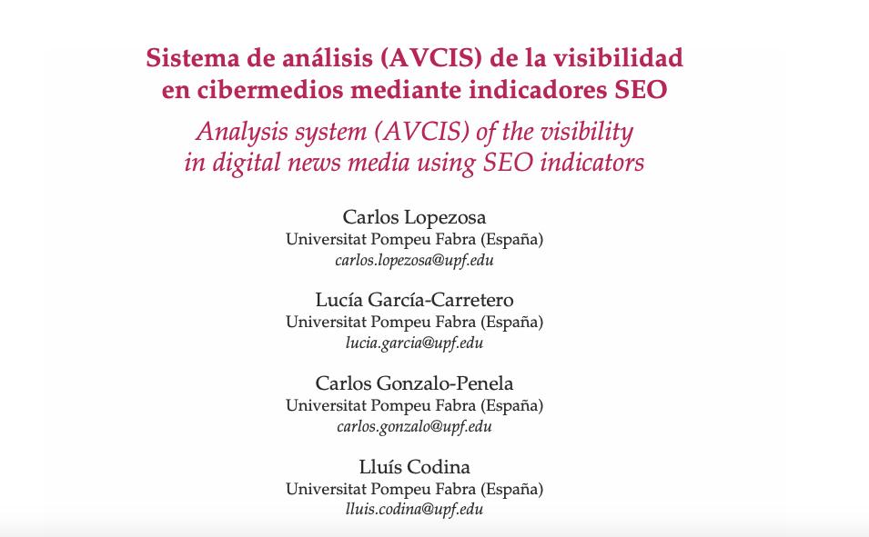 Sistema de análisis (AVCIS) de la visibilidad en cibermedios mediante indicadores SEO