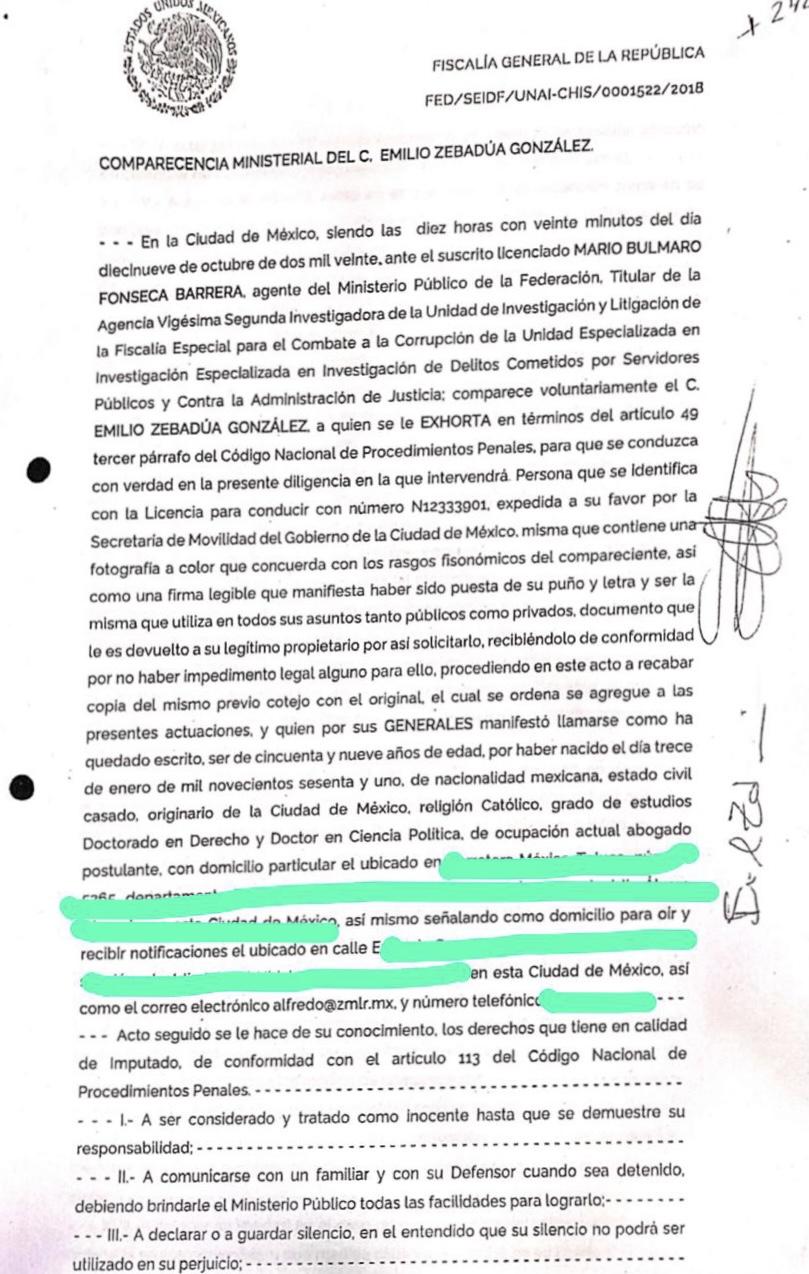 Declaración de Emilio Zebadúa, Oficial Mayor de Rosario Robles.