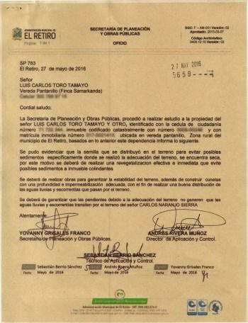 Oficio de Planeación a Luis Carlos Toro y Ana María López