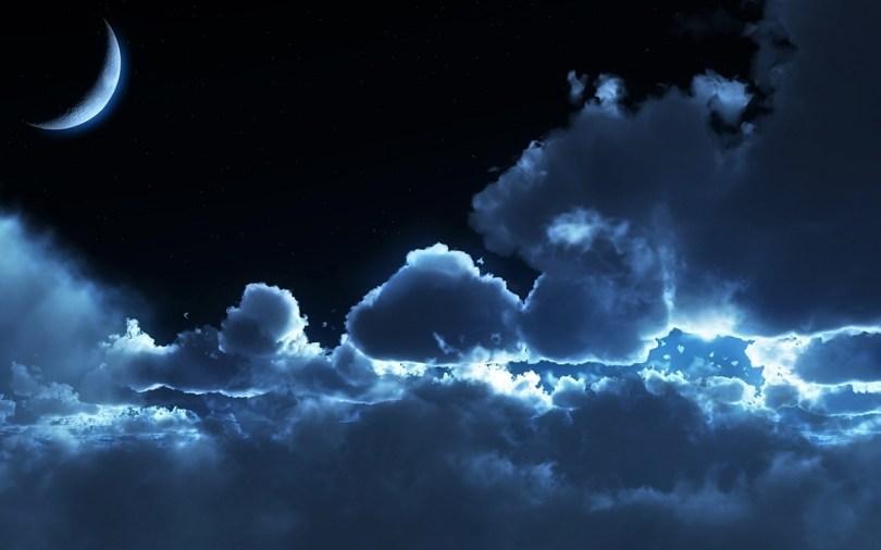 natt, måne og skyer. Draumkvedet