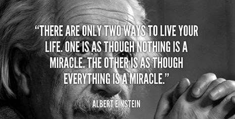 """There are only two ways to live your life.  One is as though nothing is a miracle.  The other is as though Everything Is A Miracle"" - Albert Einstein"