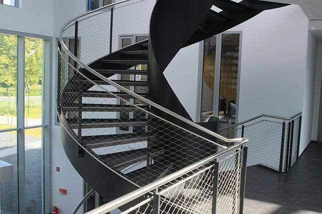 Railings Fillings Stainless Steel Rope And Mesh | Wire Mesh Stair Railing | Exterior Perforated Metal | Galvanized Mesh | Staircase | Modern | Mesh Balustrade