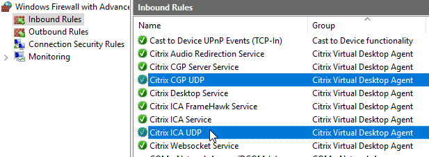 xenappxendesktop 713 and newer include adaptive transport which uses edt protocol which uses udp ports 14942598 for hdx connections to the vda