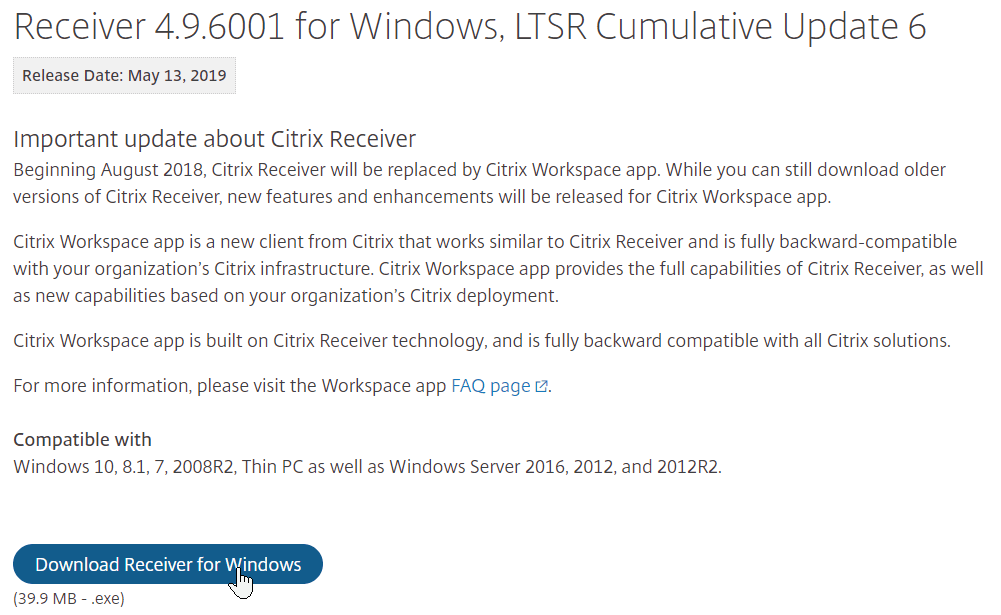 Citrix Receiver Ltsr