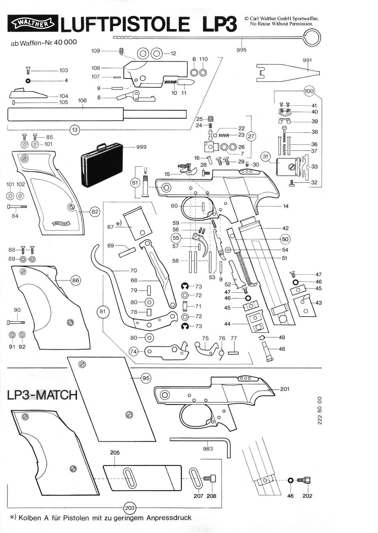 Walther Lp3 Valve Assembly