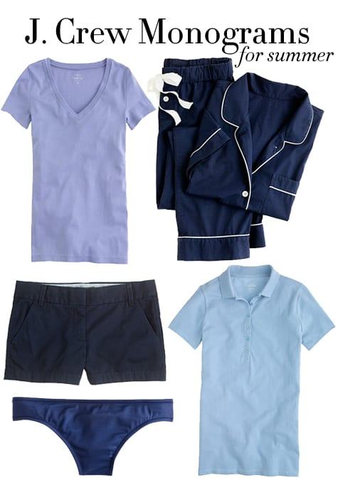 j crew monogram pajamas