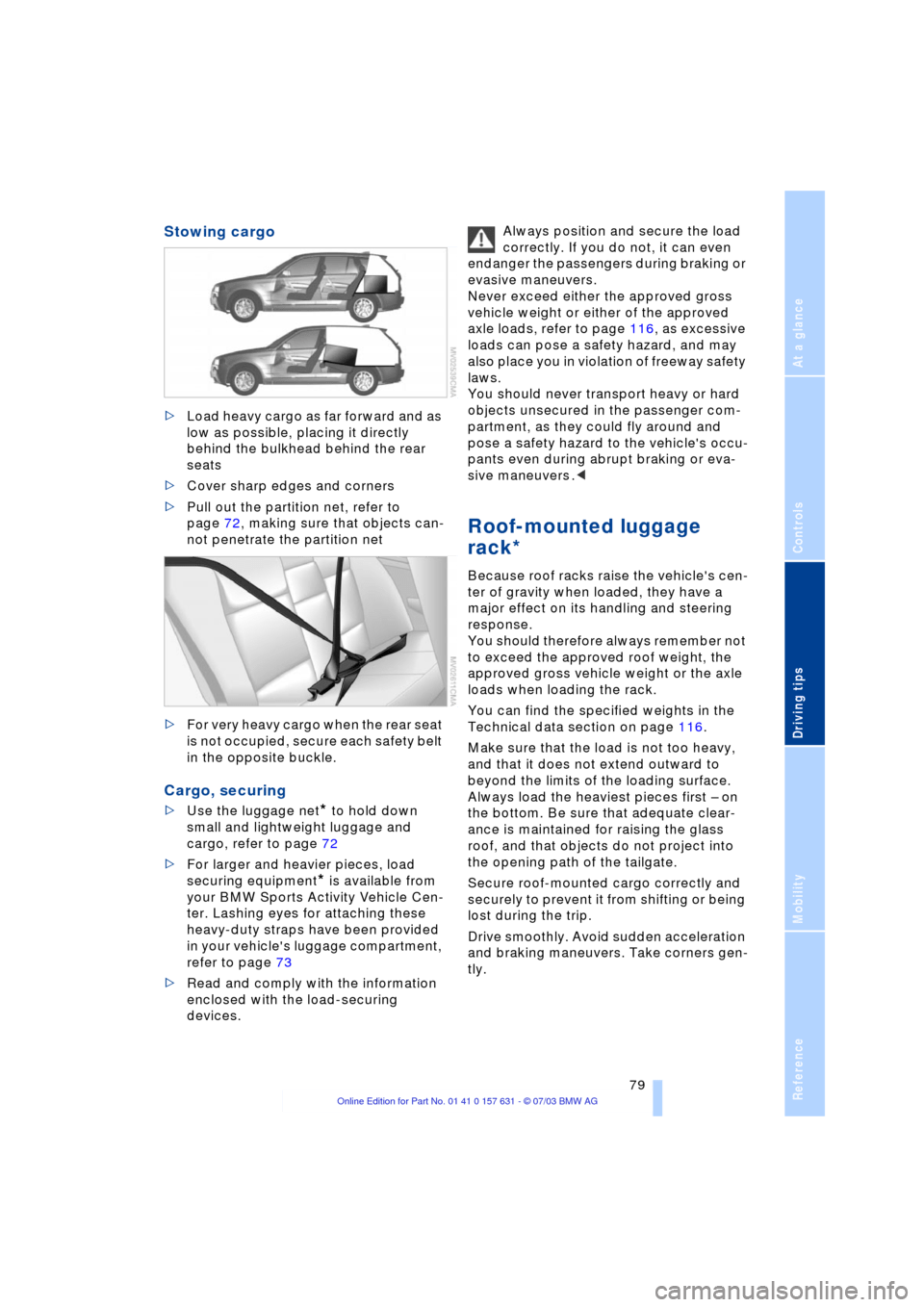 BMW X3 2.5I 2004 E83 Owner's Manual