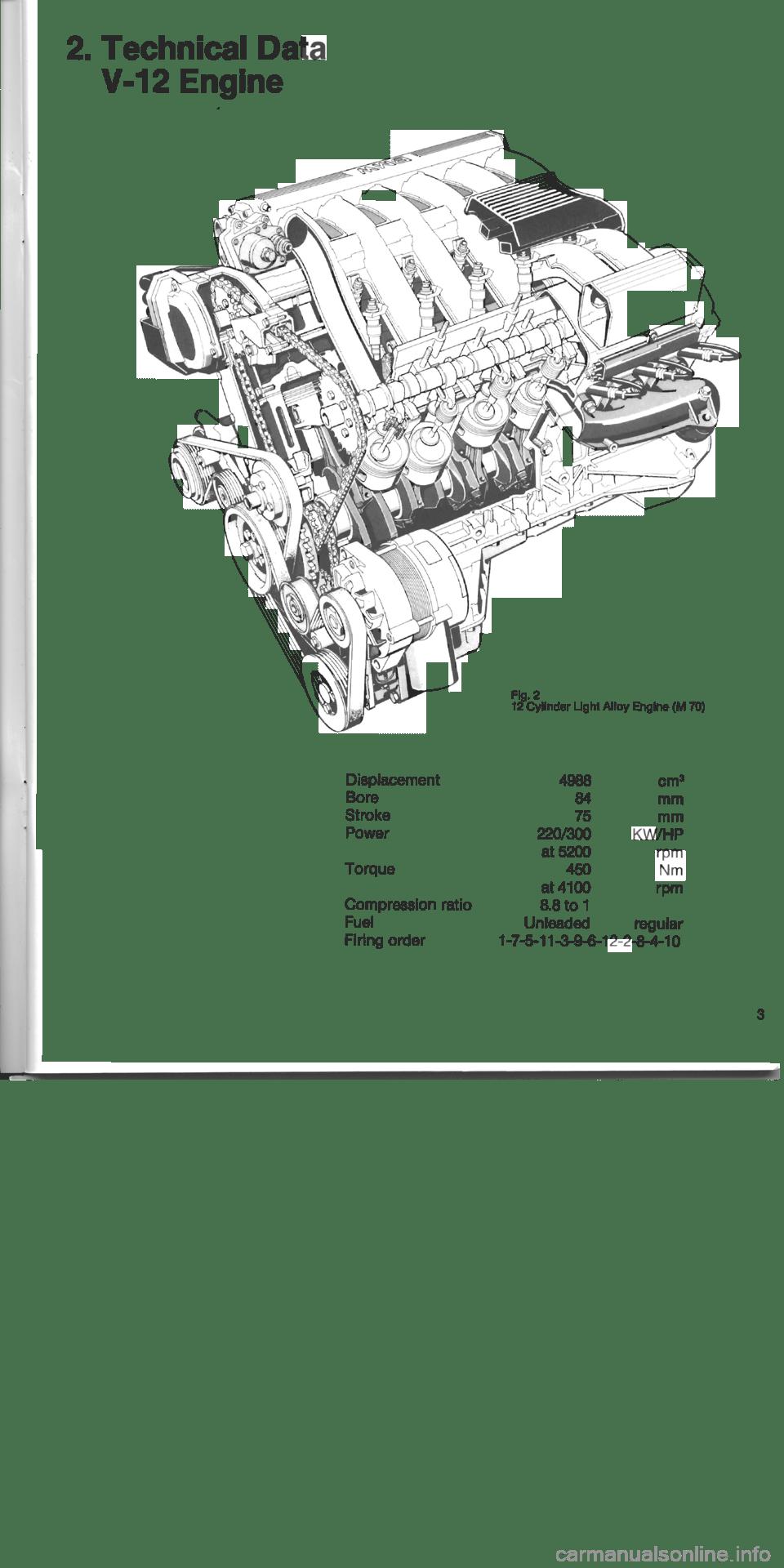 BMW 750i 1995 E32 M70 Engine Workshop Manual