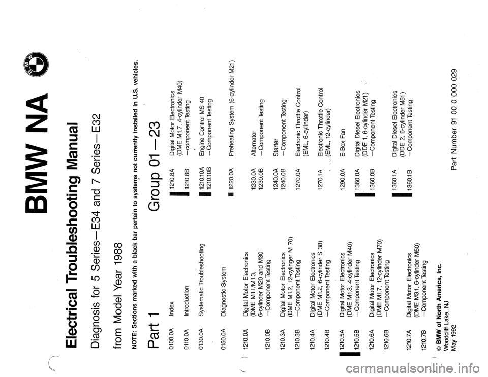 BMW 5 SERIES 1988 E34 Electrical Troubleshooting Manual