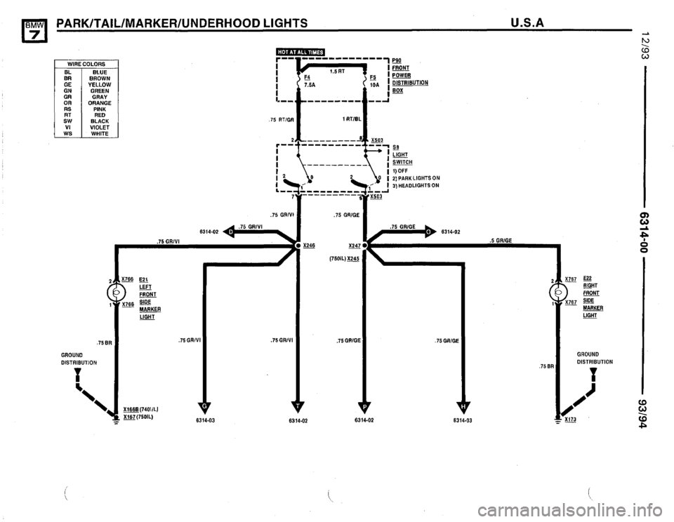 BMW 740i 1993 E32 Electrical Troubleshooting Manual (668