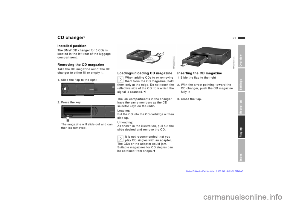 BMW 3 SERIES 2002 E46 Business CD Radio Manual