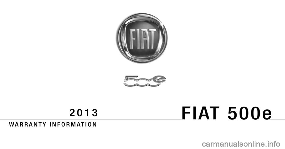 FIAT 500E 2013 2.G Warranty Booklet